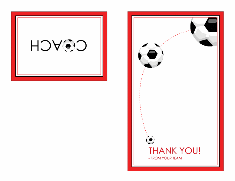 Thank You Card For Soccer Coach QuarterFold  Templates