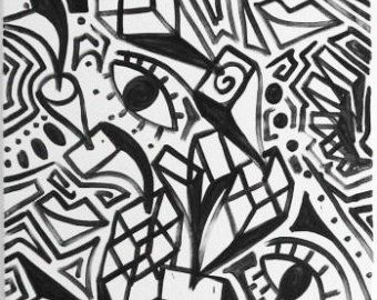 Original Black And White Abstract Contemporary Minimalism Fine Etsy Black And White Abstract Urban Painting Street Art