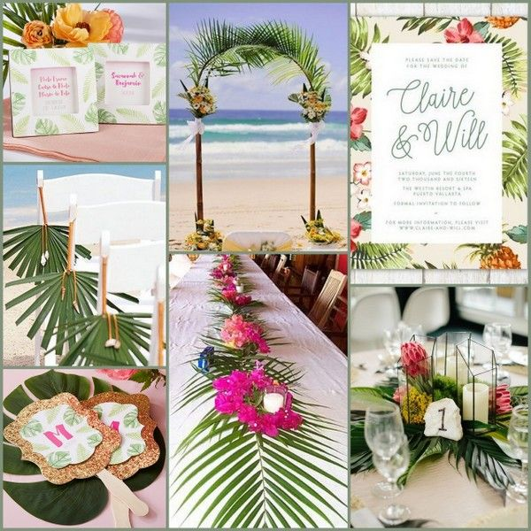 Palm Tree With Tropical Flower Beach Wedding Ideas From Hotref Tropicalwedding