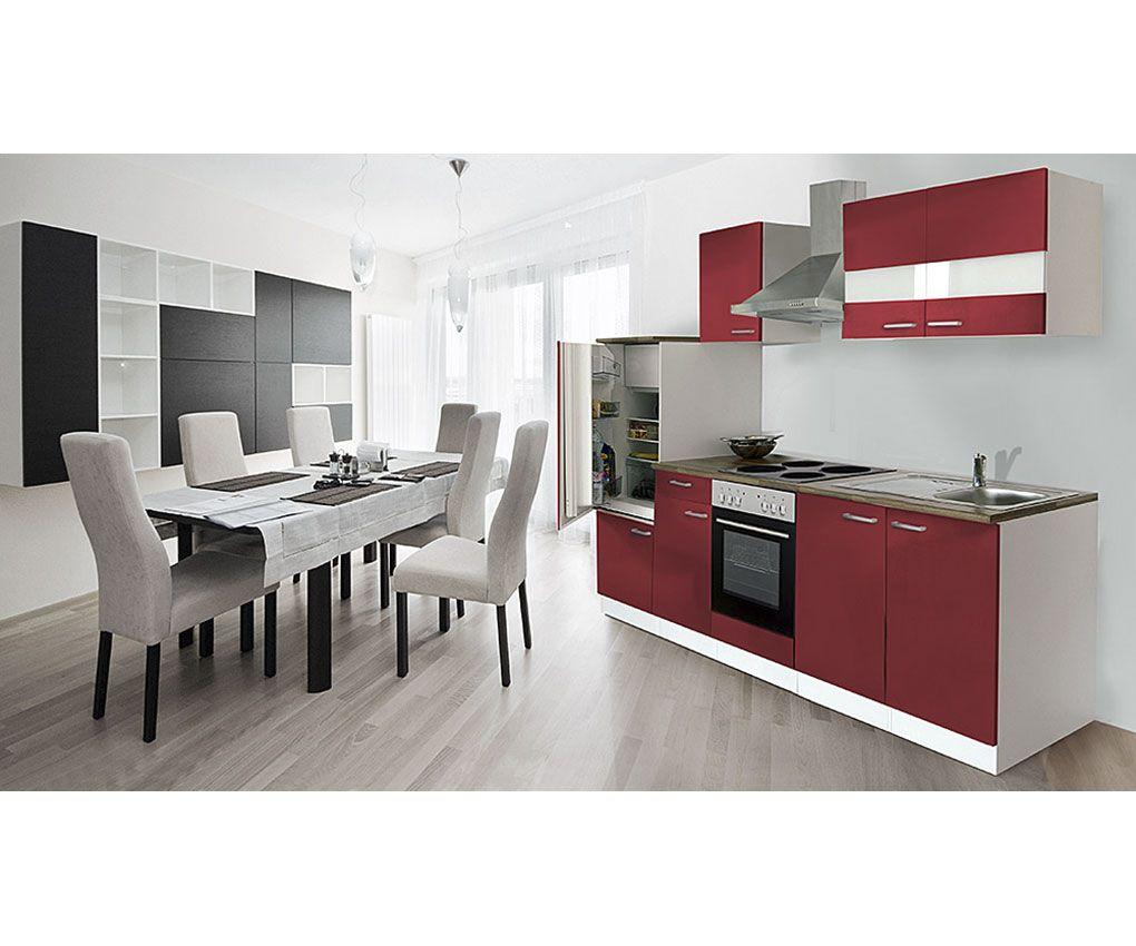 respekta Küche Küchenzeile Küchenblock Einbauküche 270 cm WEISS ROT ...
