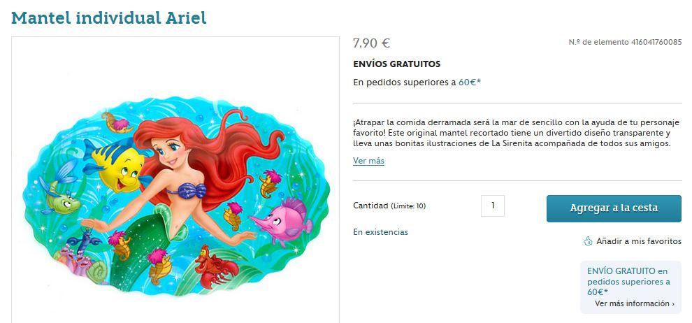 Mantel individual Ariel - 7.90 € -- http://www.disneystore.es/mantel-individual-ariel-416041760085.html?cgid=1000996