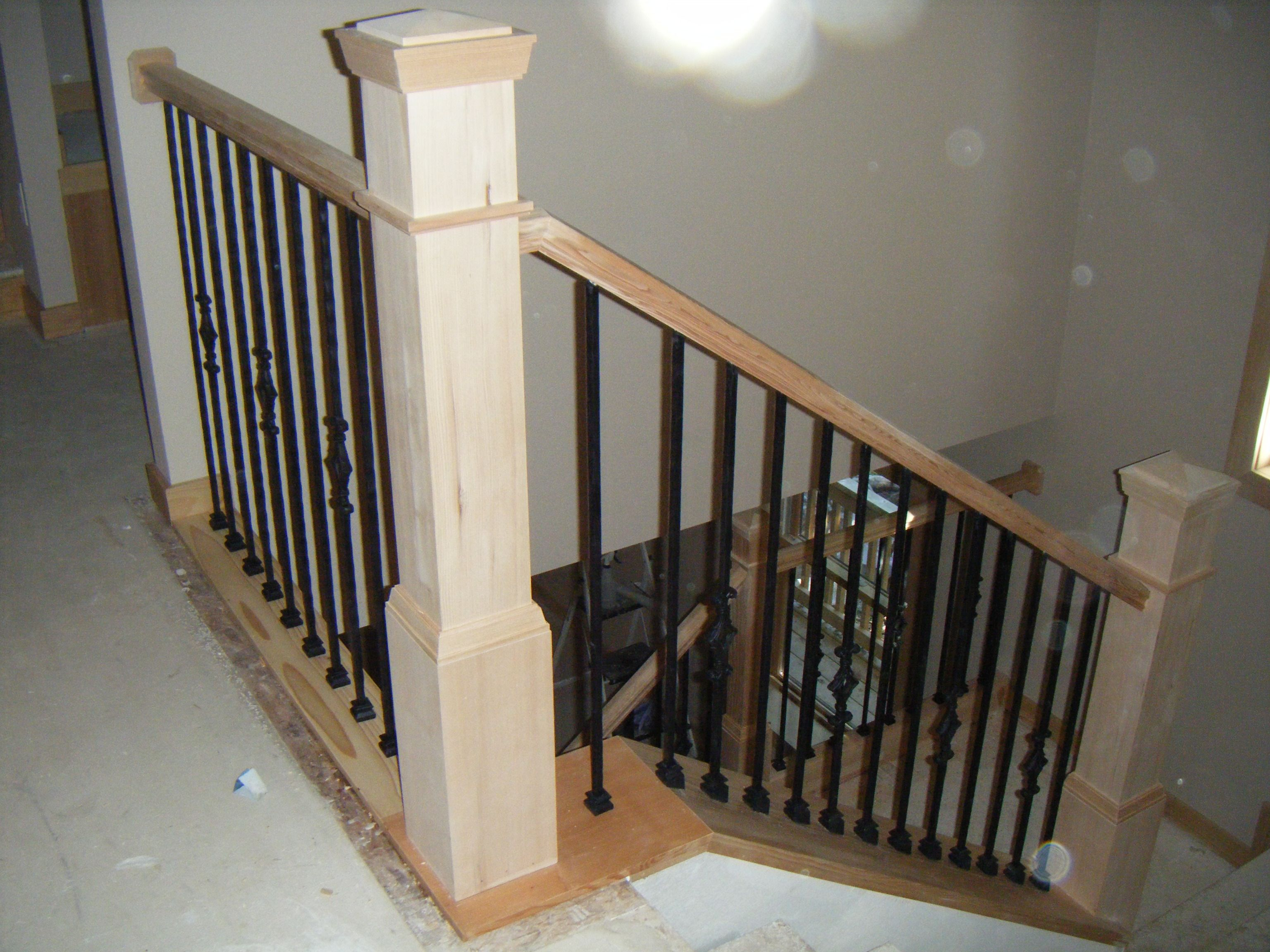 Wooden Stairs Rail Base Stair Railing Newles Posts