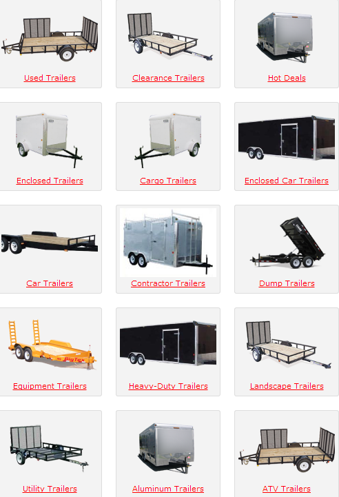 All types on trailers from open to enclosed car trailers http