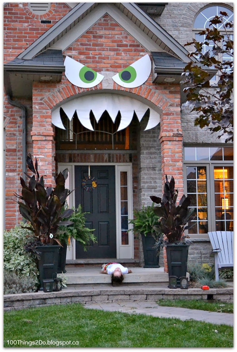 Monster\u0027d Front Porch - or Monster face porch Front porches and - Scary Door Decorations For Halloween