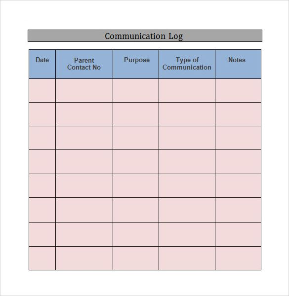 Communication Log Template Word Download Education Pinterest - log template word