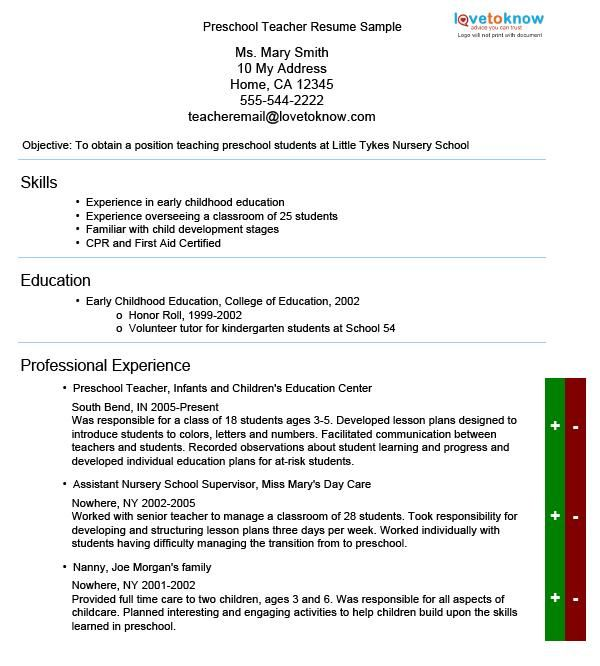 Good Preschool Teacher Resume Guide | LoveToKnow. Preschool Teacher Resume Sample