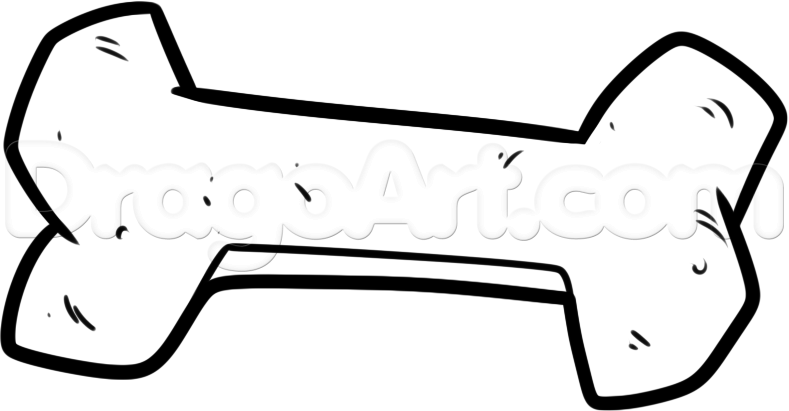How To Draw A Dog Bone Step By Step Pets Animals Free Online Dog Bone Bone Drawing Drawings