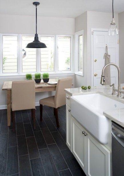 Kitchen white shaker cabinets tile floor 55 Ideas #whiteshakercabinets