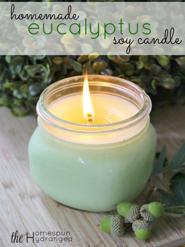 Homemade Eucalyptus Essential Oil Candle Recipe The Homespun Hydrangea Essential Oil Candle Recipes Homemade Candles Food Candles