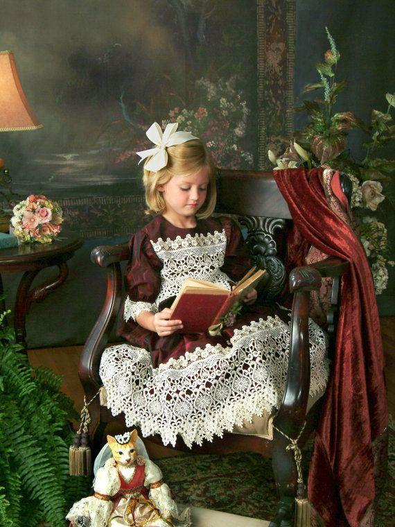 Burgandy Morie Silk Victorian Dress