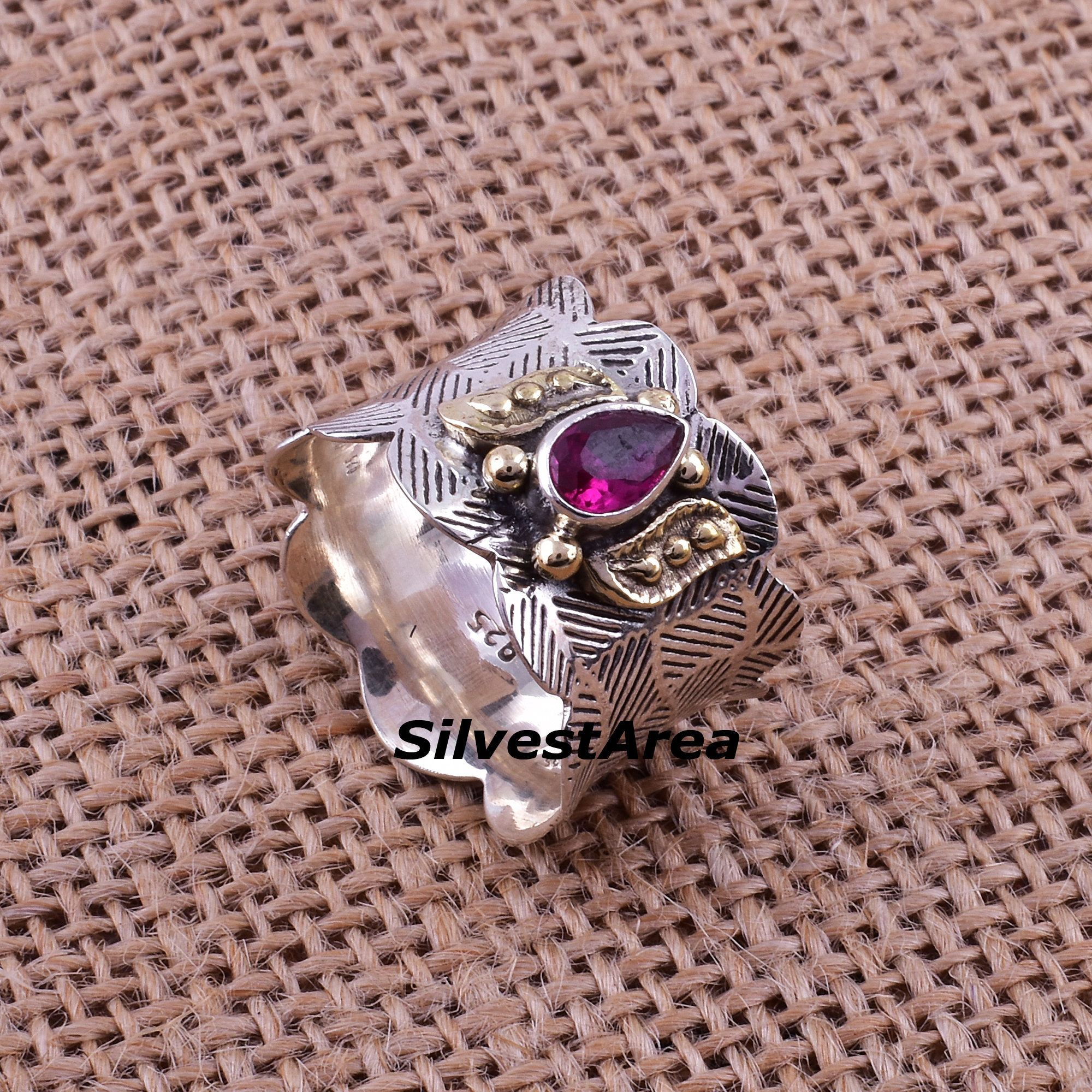 Photo of Garnet Statement Ring,Sterling Silver Ring,Anxiety Ring,Boho Ring,Dainty Ring,Handmade Jewelry,Gemstone Ring,January Birthstone,Unisex Band.