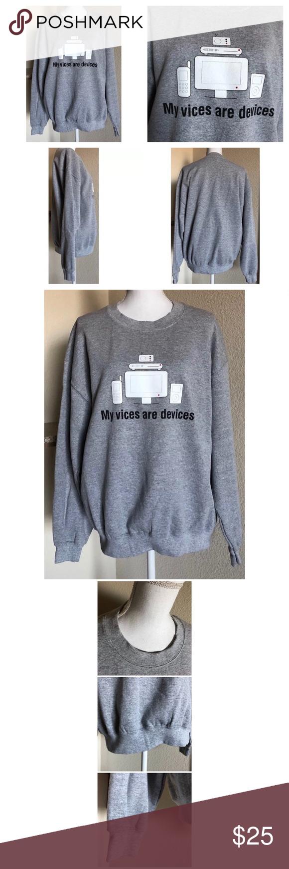 Gildan Sweatshirt My Vices Are Devices Mens L Gray Gildan Sweatshirt My Vices Are Devices Mens L Gray Cotton 50 5 Mens Sweatshirts Sweatshirts Clothes Design [ 1740 x 580 Pixel ]