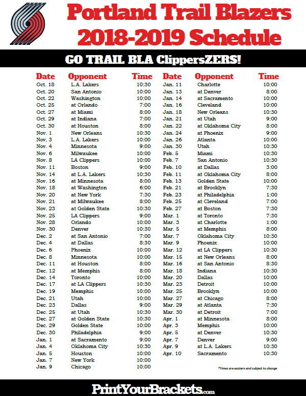 graphic relating to Cleveland Cavaliers Printable Schedule referred to as Printable 2018-2019 Portland Path Blazers Program