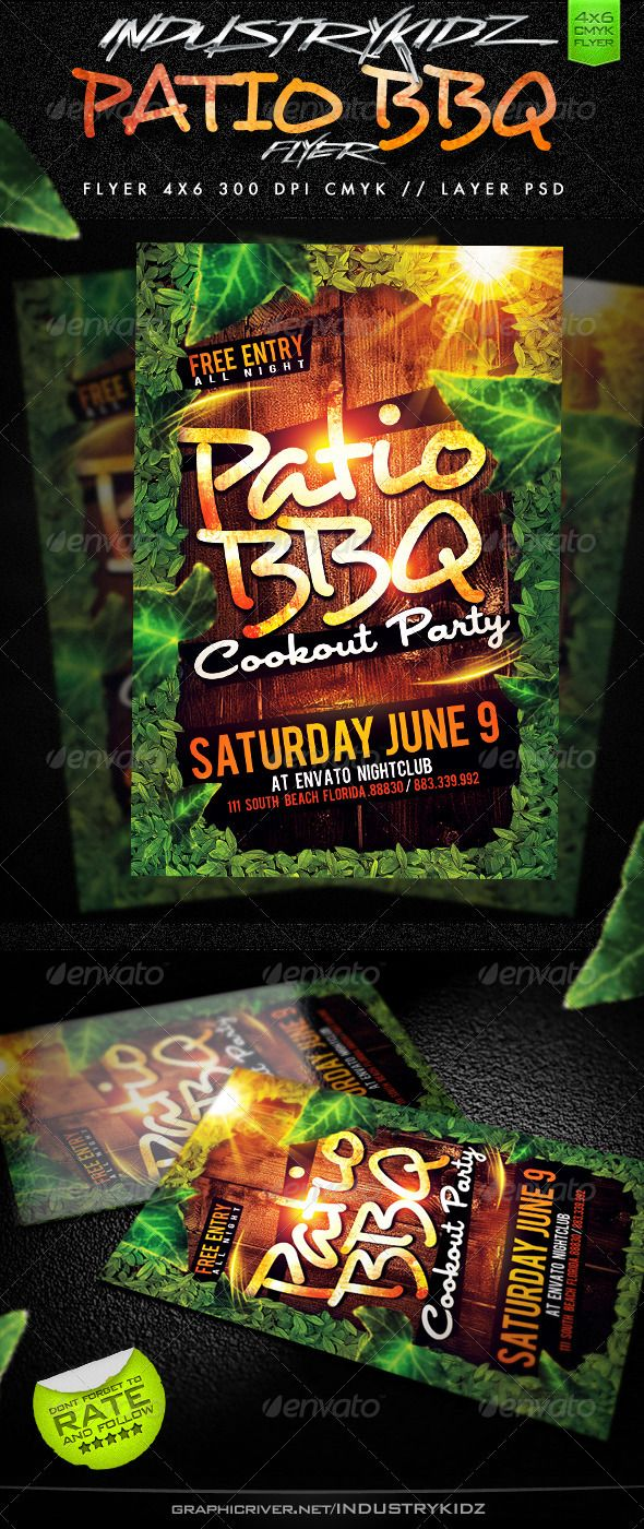patiobbqparty flyer layeredpsd well organized in folders print