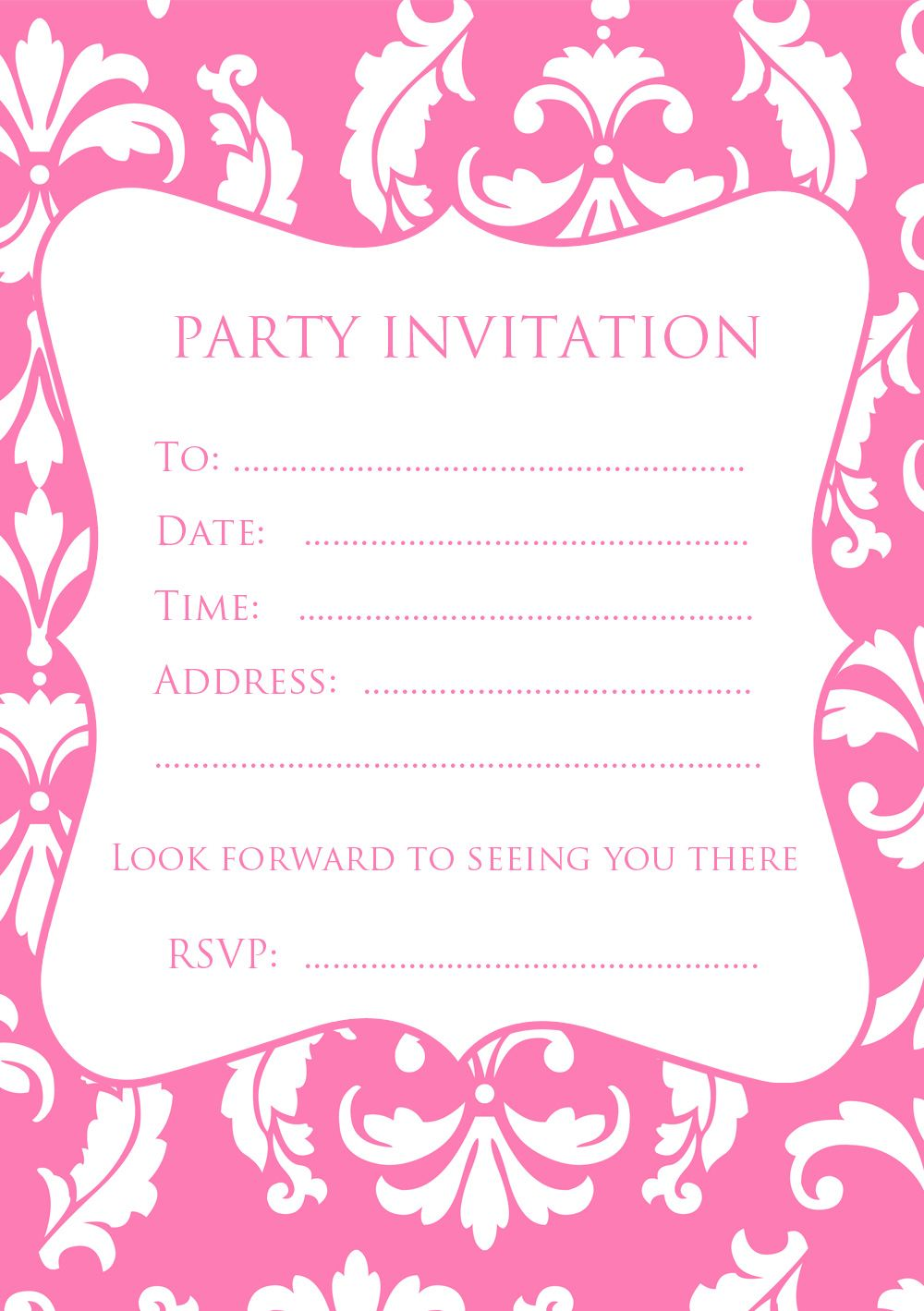 FREE Pink Damask Party Invitation | Invitation filles | Pinterest ...