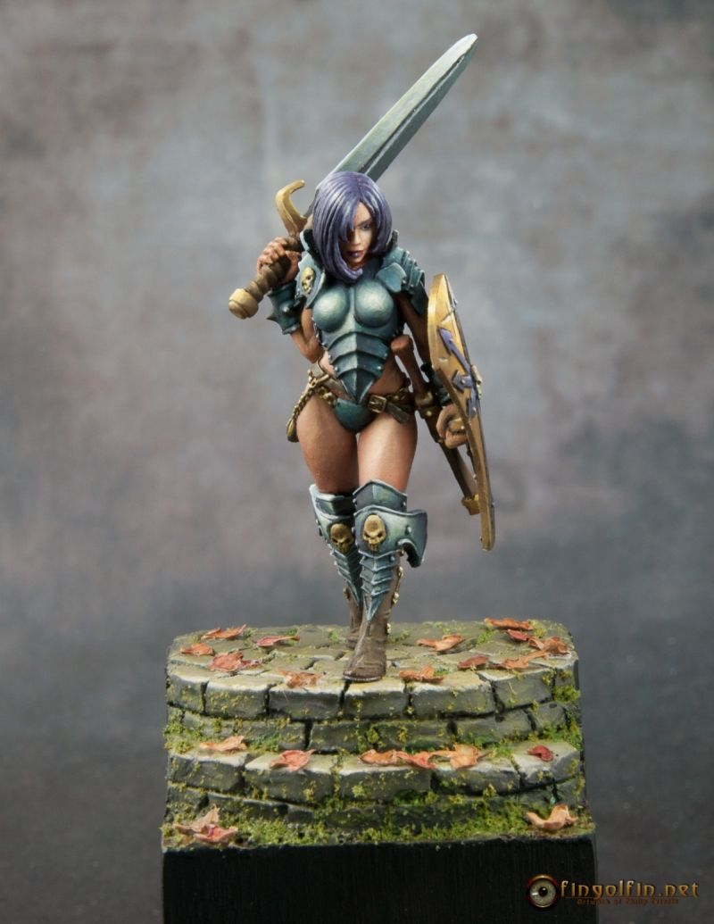 The 40mm version of Kalee from Hasslefree Miniatures