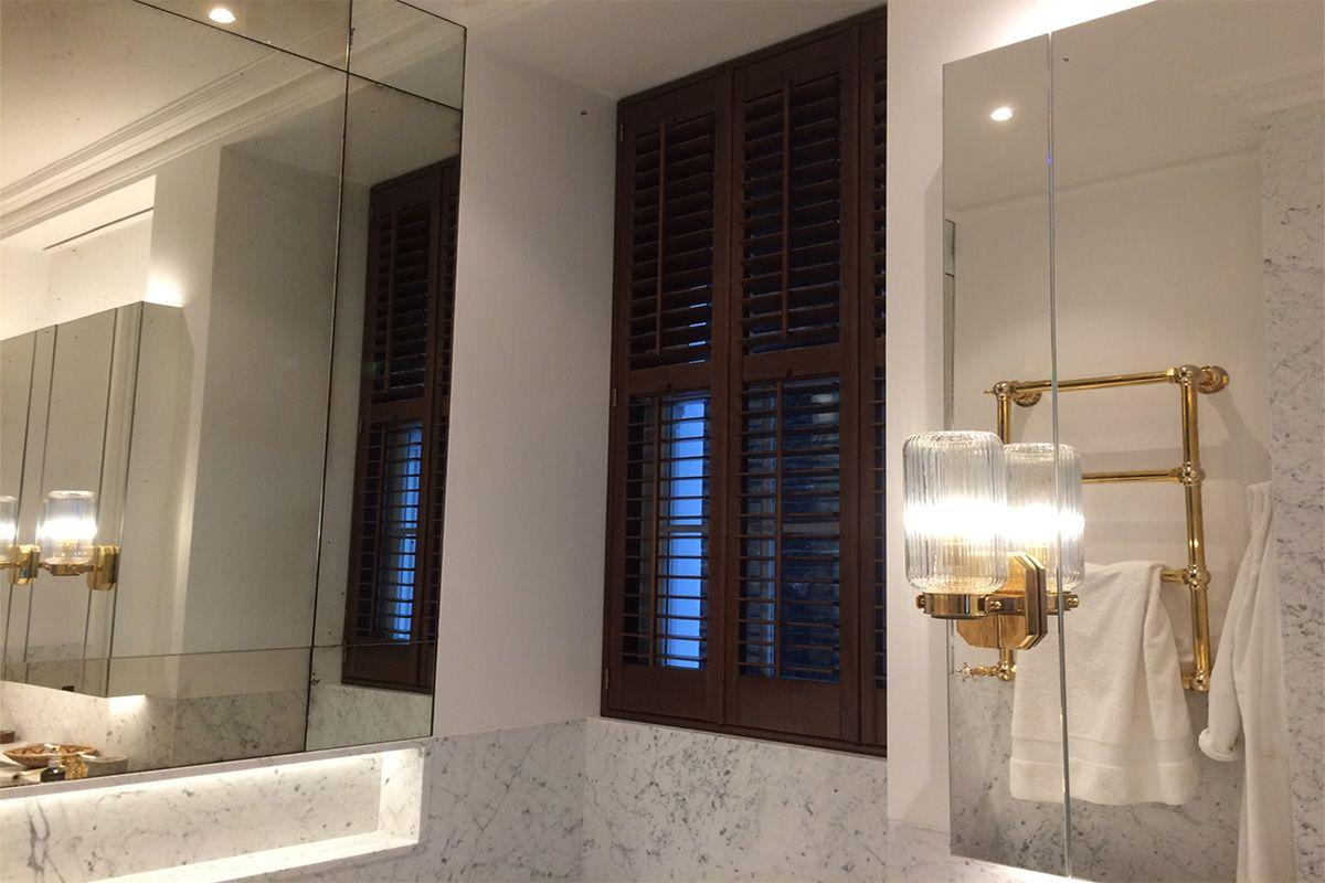 Full height shutters in the bathroom full height shutters
