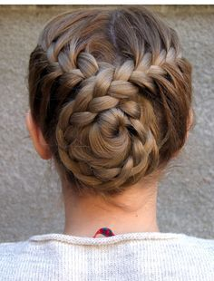 Bun Hairstyles Delectable Trenzas …  Flower  Pinterest  Bun Hairstyle Gymnastics And