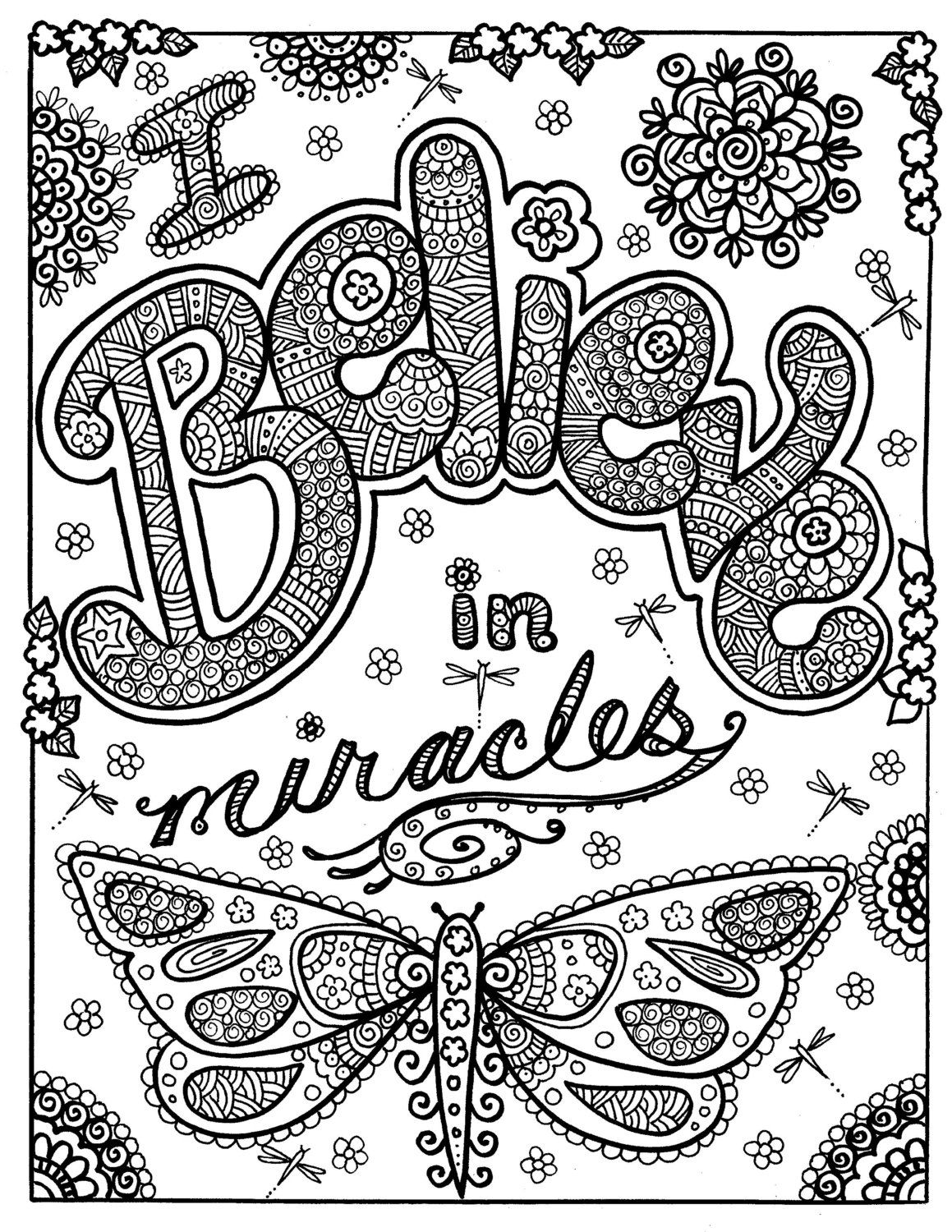 Instant Download Believe In Miracles Coloring Page You Be The Artist Quote Coloring Pages Butterfly Coloring Page Insect Coloring Pages
