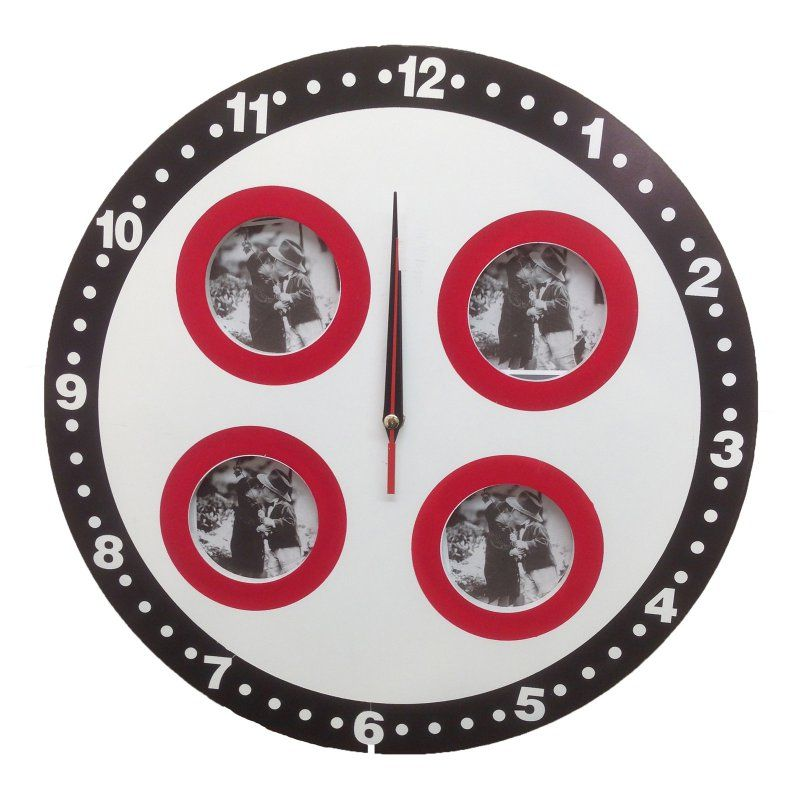 c75766119e28 Creative Motion Industries Round 15.5 in. Wall Clock with 4 Picture Frames  - 13683-4