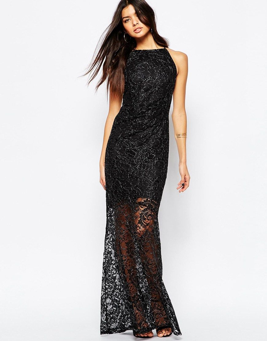 Lipsy bandage bodycon dress with lace wrap front in black lyst