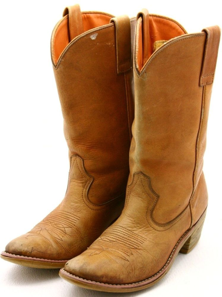 Texas Steer Mens Cowboy Boots Size 9.5 Tan Leather Work Boot True ...