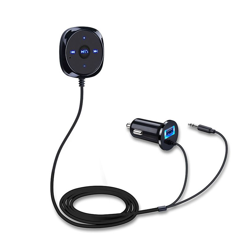 Wireless Car Kit Bluetooth AUX Music Audio Receiver Adapter Hands ...