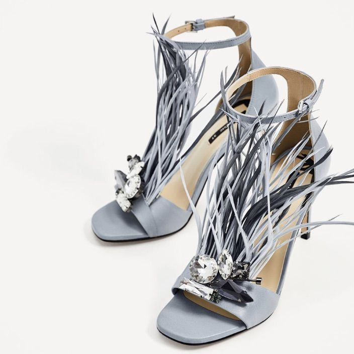 good selling new arrivals timeless design Zara Shoes | Zara Baby Blue High Heels With Feather Details ...