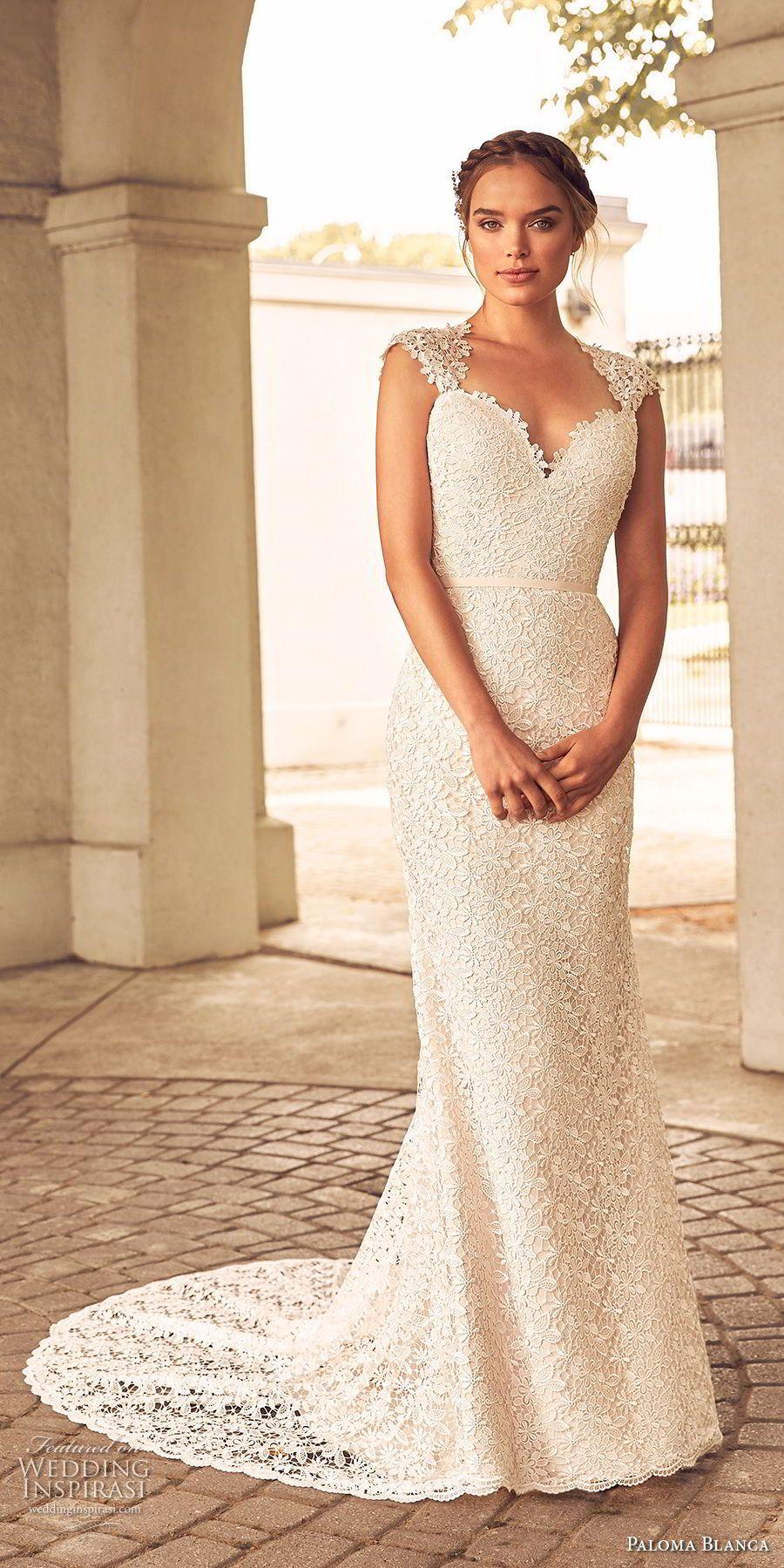 Paloma Blanca Spring 2018 Wedding Dresses Wedding Inspirasi Wedding Dress Cap Sleeves Fit And Flare Wedding Dress Wedding Dress Belt [ 1800 x 900 Pixel ]