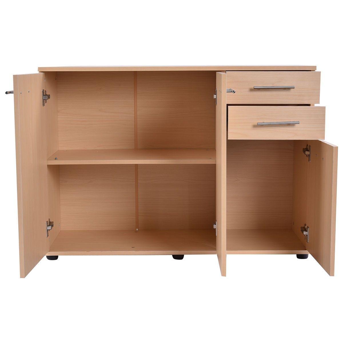 Storage Cabinet Cupboard Organizer Three Doors Double Shelves