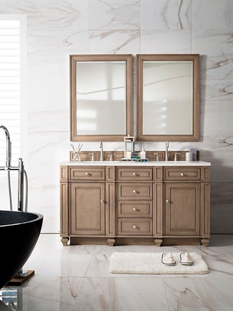 Bristol 60 Double Vanity Whitewashed Walnut With 3 Cm Arctic Fall Solid Surface Top Ja Bathroom Vanity Designs Bathrooms Remodel Bathroom Vanity Double Sink