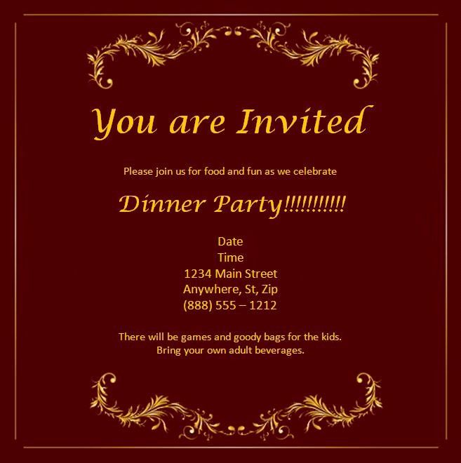 Ms Office Invitation Template Awesome Microsoft Fice Invitation Tem Dinner Invitation Template Dinner Party Invitations Wedding Invitations Printable Templates
