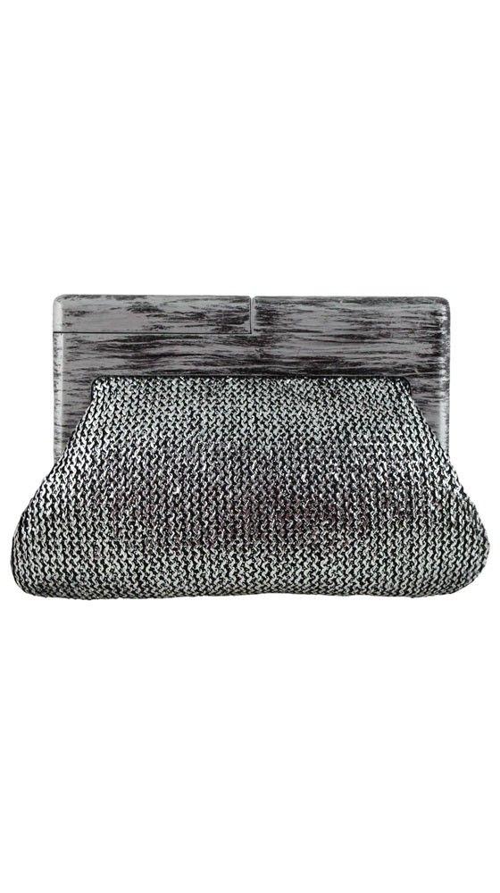 Daisy Metallic Wood Frame Crochet Clutch