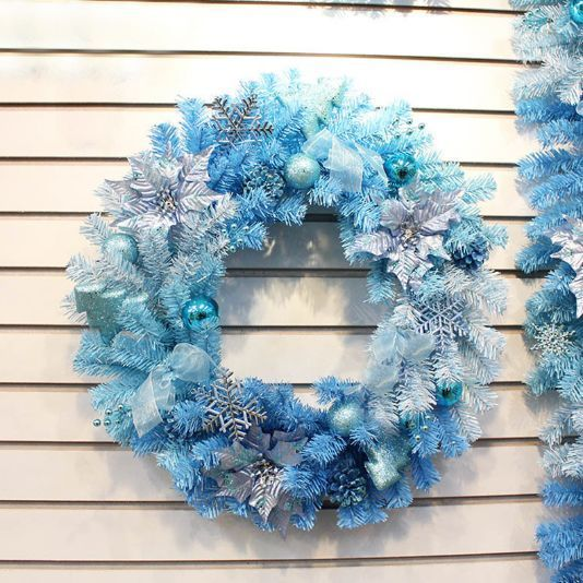 Blue Christmas Wreath Garland Ribbons Party Decoration Nome