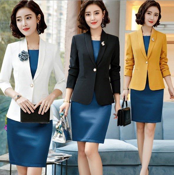510b1dc3dee Woman Work Blazer Dress Suit Two Piece Sets Plus Size 4XL Business Jacket  Dress for Women Office Wear Uniform Outfit Black White