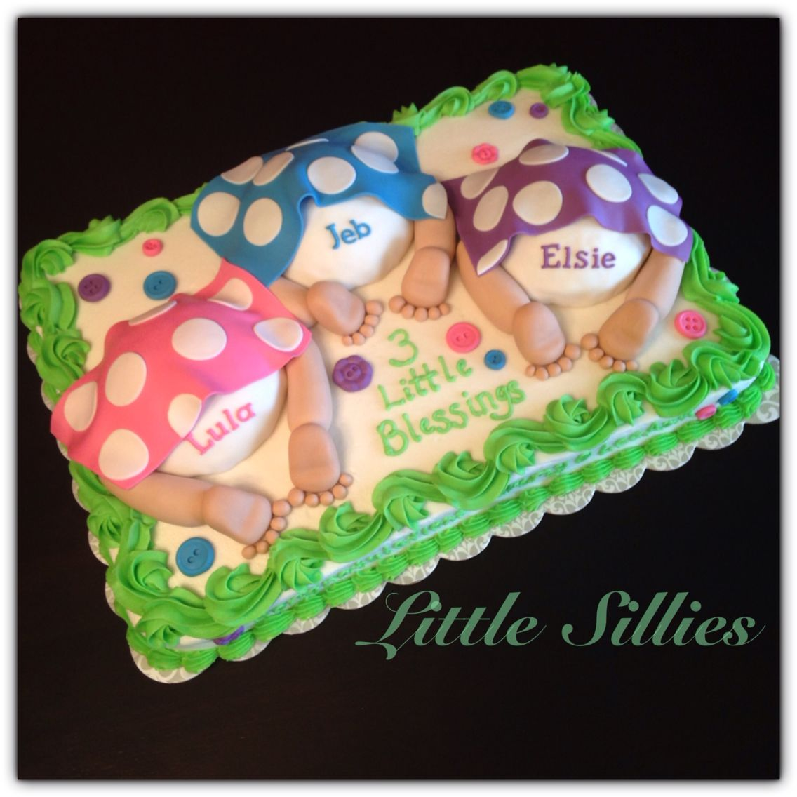 A Baby Bottom Baby Shower Cake For Triplets With Images