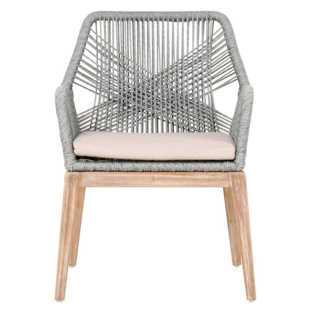 Rope Weave Design Arm Chair With One Loose Cushion, Gray ...