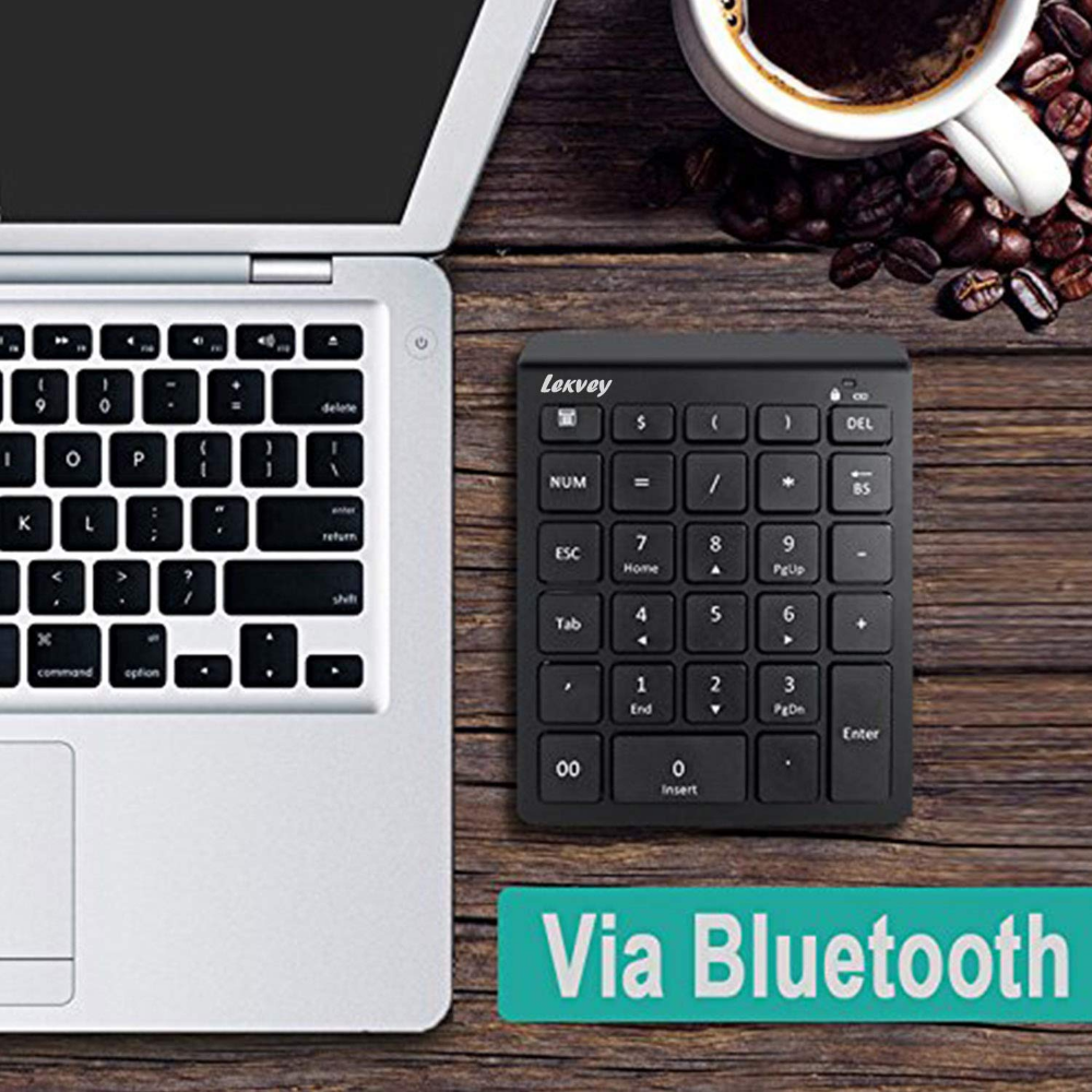 Windows Bluetooth Number Pad Lekvey Portable Wireless Bluetooth 28-Key Numeric Keypad Keyboard Extensions for Financial Accounting Data Entry for Smartphones Laptop and More Tablets Surface Pro