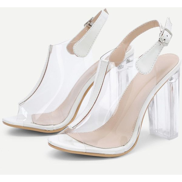 745a021250 SheIn(sheinside) Peep Toe Clear Design Block Heeled Pumps ($36) ❤ liked