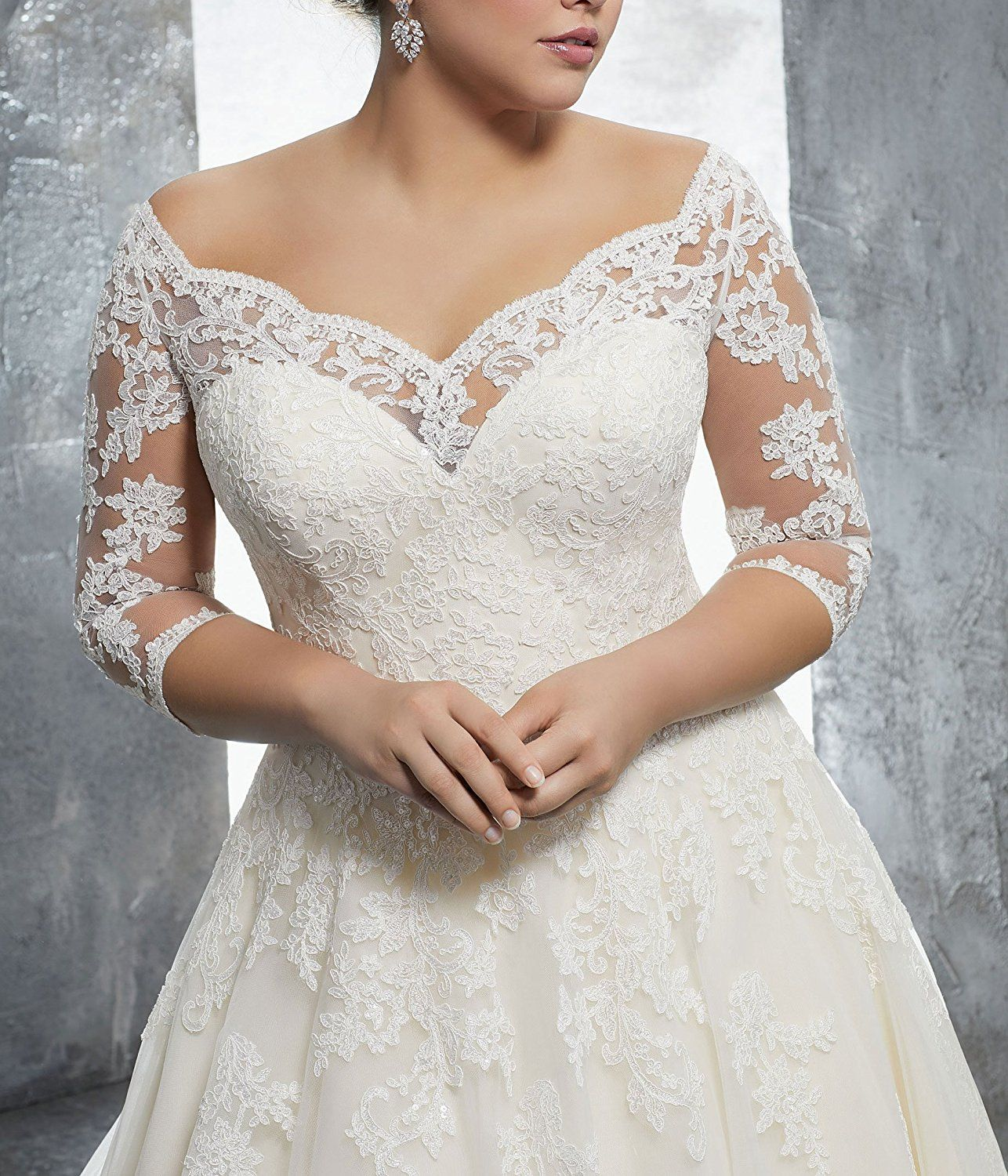 Wulidress Women S Plus Size Bridal Ball Gowns Lace Wedding Dresses With 3 4 Sleeves Ivory Bridal Ball Gown Long Sleeve Wedding Dress Lace Wedding Dresses Lace [ 1500 x 1286 Pixel ]