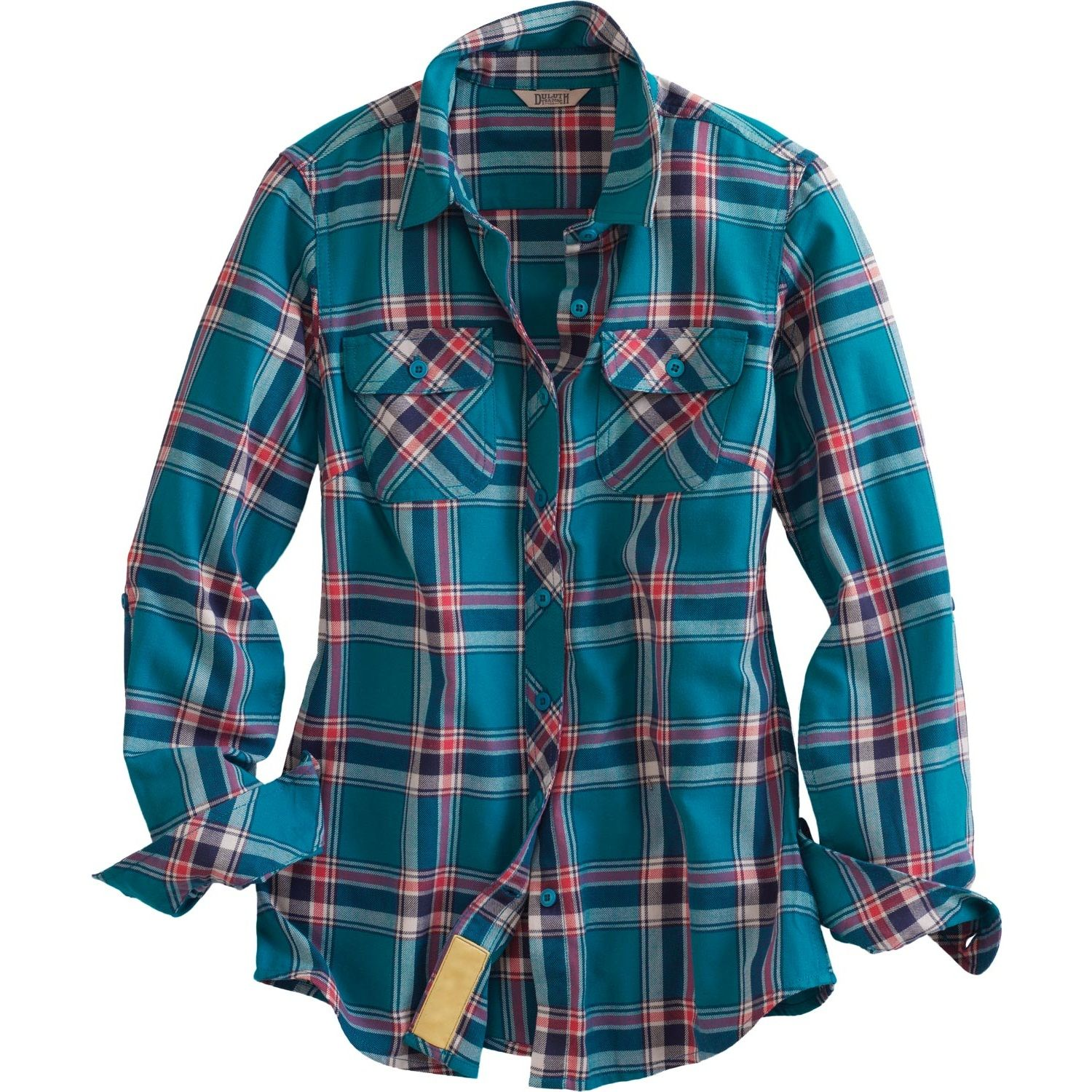 WOMEN'S CROSSCUT PERFORMANCE FLANNEL SHIRT - DEEP TURQUOISE PLAID ...