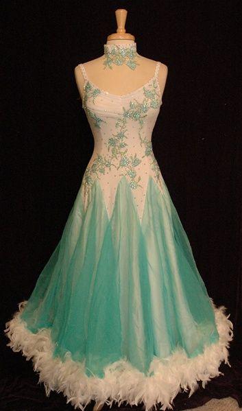 blue mint white applique bodice design feathers modern dress