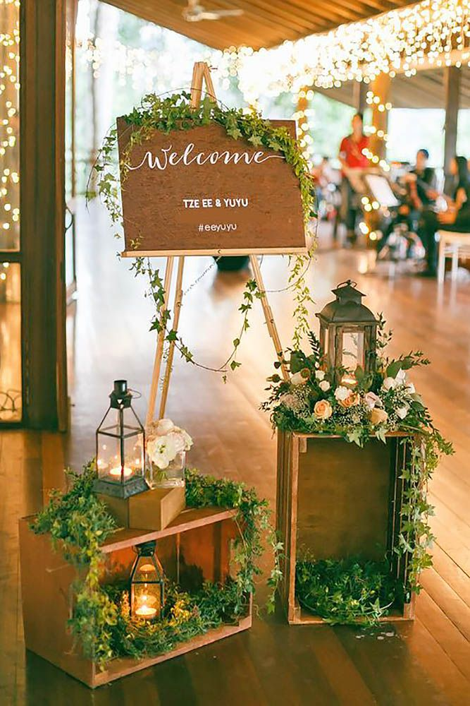 36 Rustic Wooden Crates Wedding Ideas Wedding Forward Greenery Wedding Decor Wedding Reception Entrance Wedding Decorations