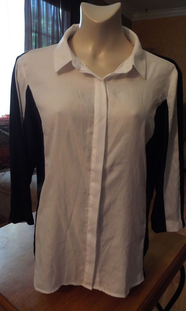 Womens Vintage 80s 1990s Black/White Worthington Blouse Sz XL