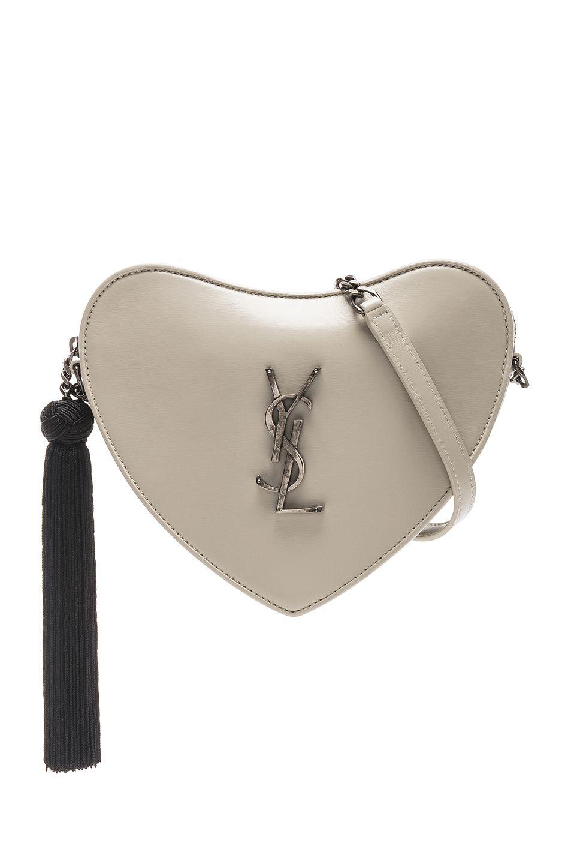 6687b8f9e9 Image 1 of Saint Laurent Heart Shoulder Bag in Blanc Vintage & Black ...