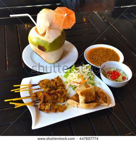 Pork Satay and Coconut water Thai food