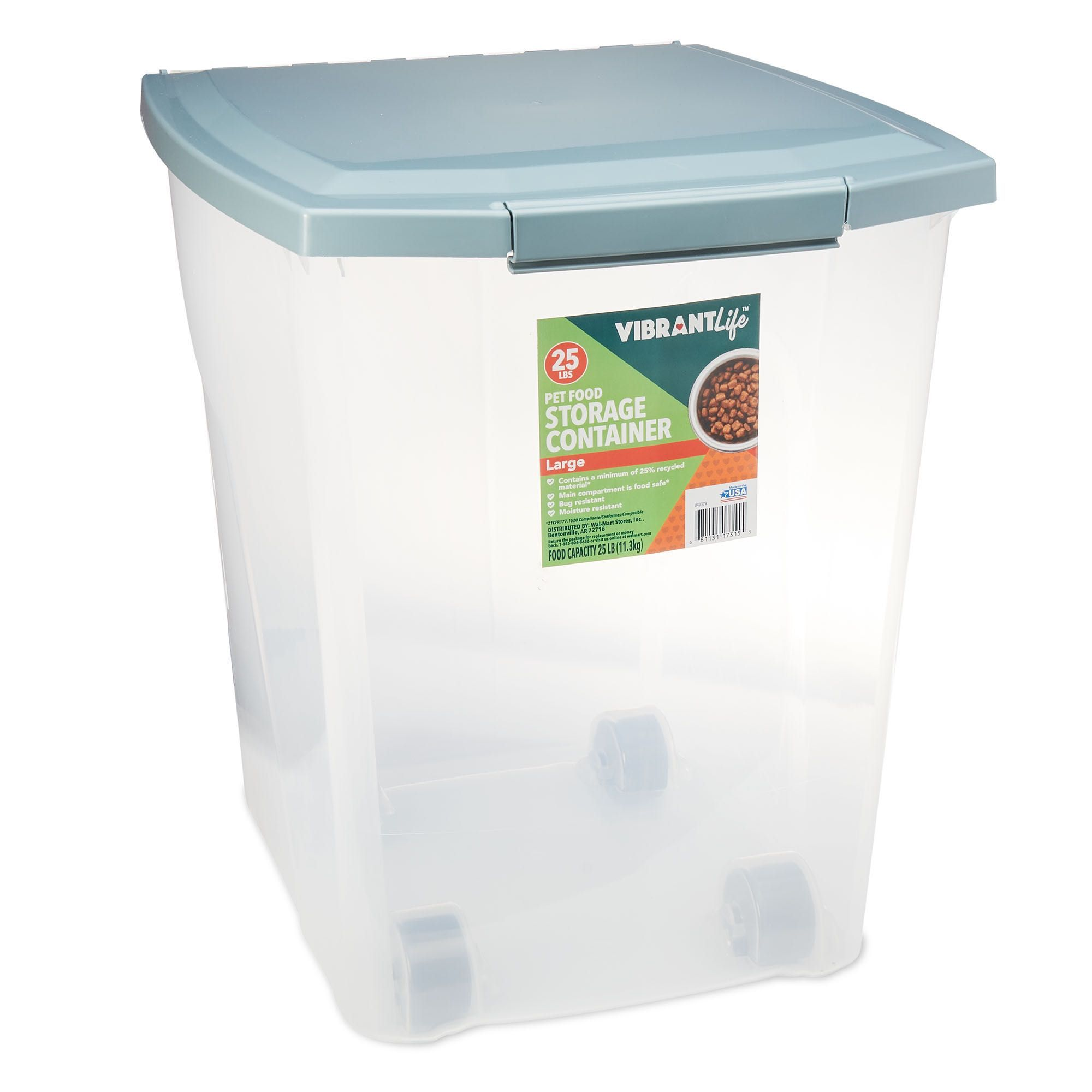 Vibrant life plastic pet food storage container with