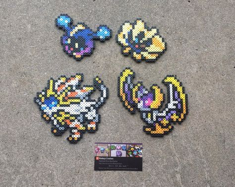 Handmade Perler Bead Sprites Featuring Cosmog Nebby Cosmoem Solgaleo And Lunala They Can Either Be So Pokemon Bead Perler Bead Art Pokemon Perler Beads