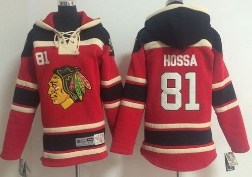 Blackhawks  81 Marian Hossa Red Sawyer Hooded Sweatshirt Stitched Youth NHL  Jersey 44bb0de30