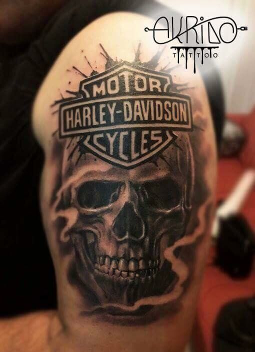 Skull Harley Davidson Realism Tattoo Black White Grey Harley Tattoos Harley Davidson Tattoos Harley Davidson Wedding